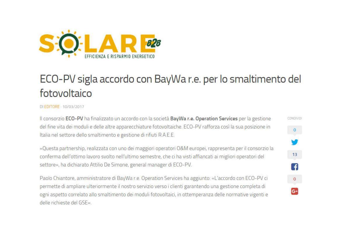 ECO-PV sigla accordo con BayWa r.e. per lo smaltimento del fotovoltaico
