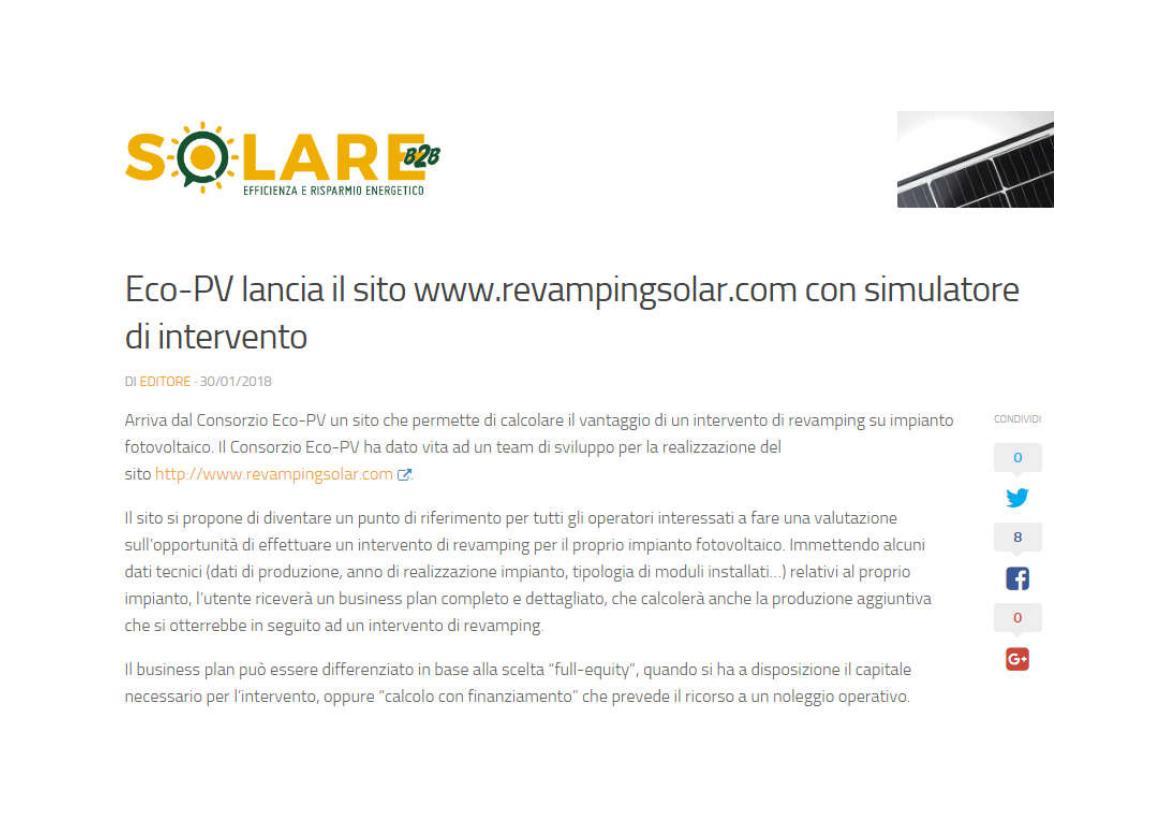 Eco-PV lancia il sito www.revampingsolar.com con simulatore di intervento
