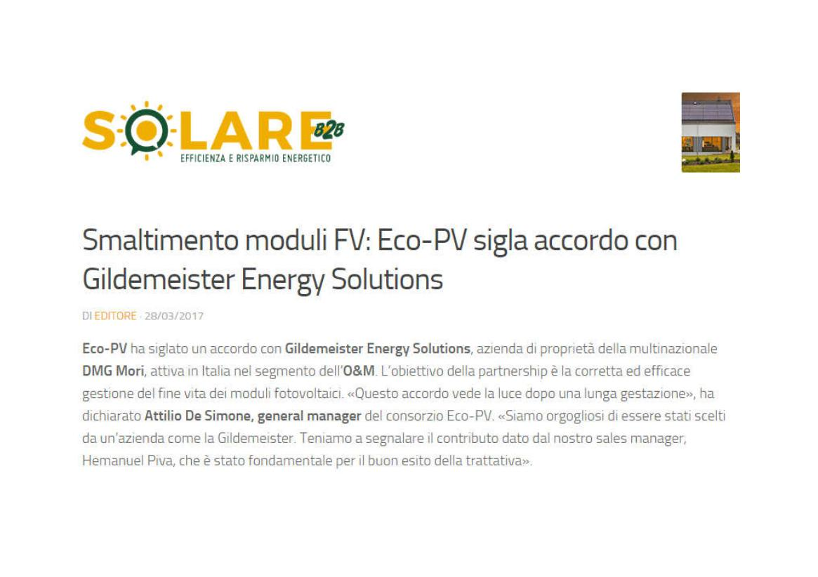 Smaltimento moduli FV Eco-PV sigla accordo con Gildemeister Energy Solutions
