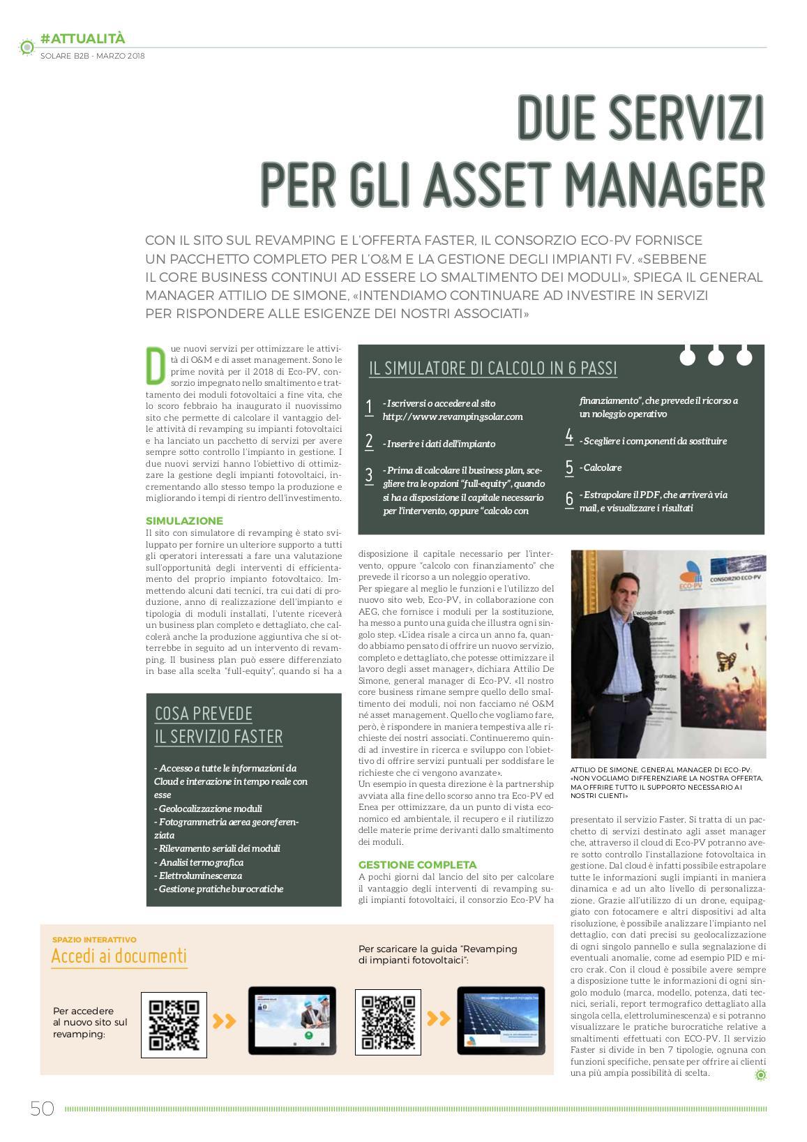 due servizi per gli asset manager