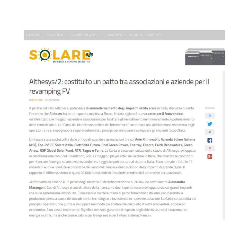 Althesys/2: costituito un patto tra associazioni e aziende per il revamping FV