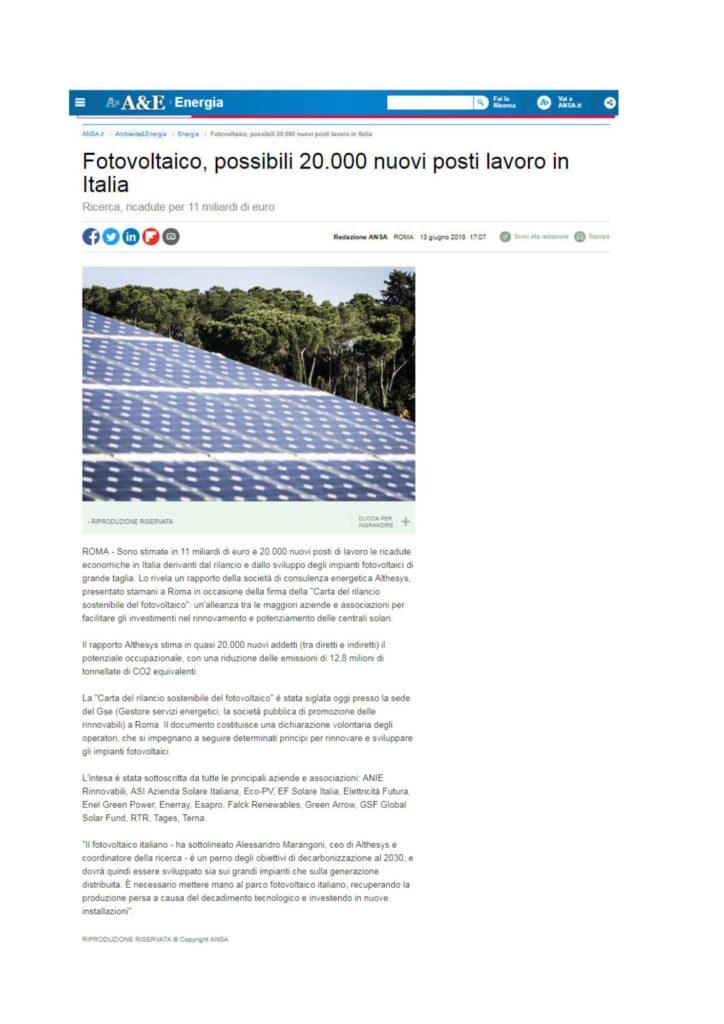Fotovoltaico, possibili 20.000 nuovi posti lavoro in Italia