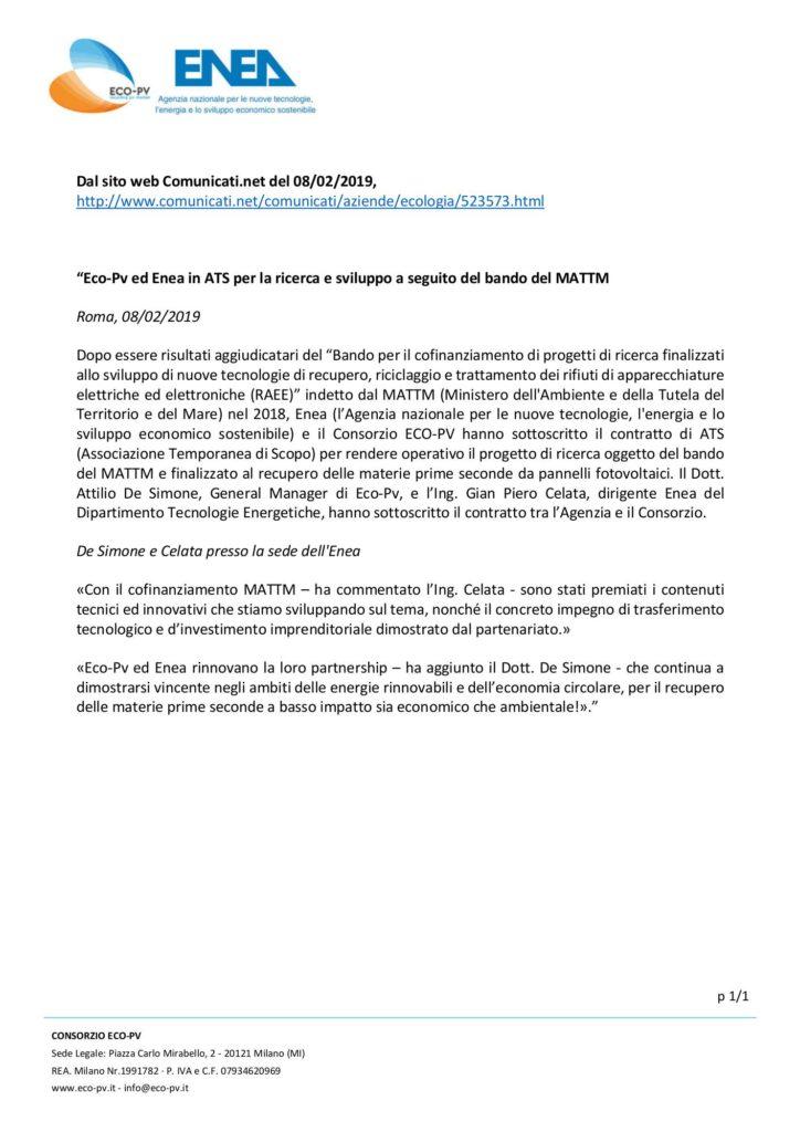 Eco-Pv ed Enea in ATS per la ricerca e sviluppo a seguito del bando del MATTM