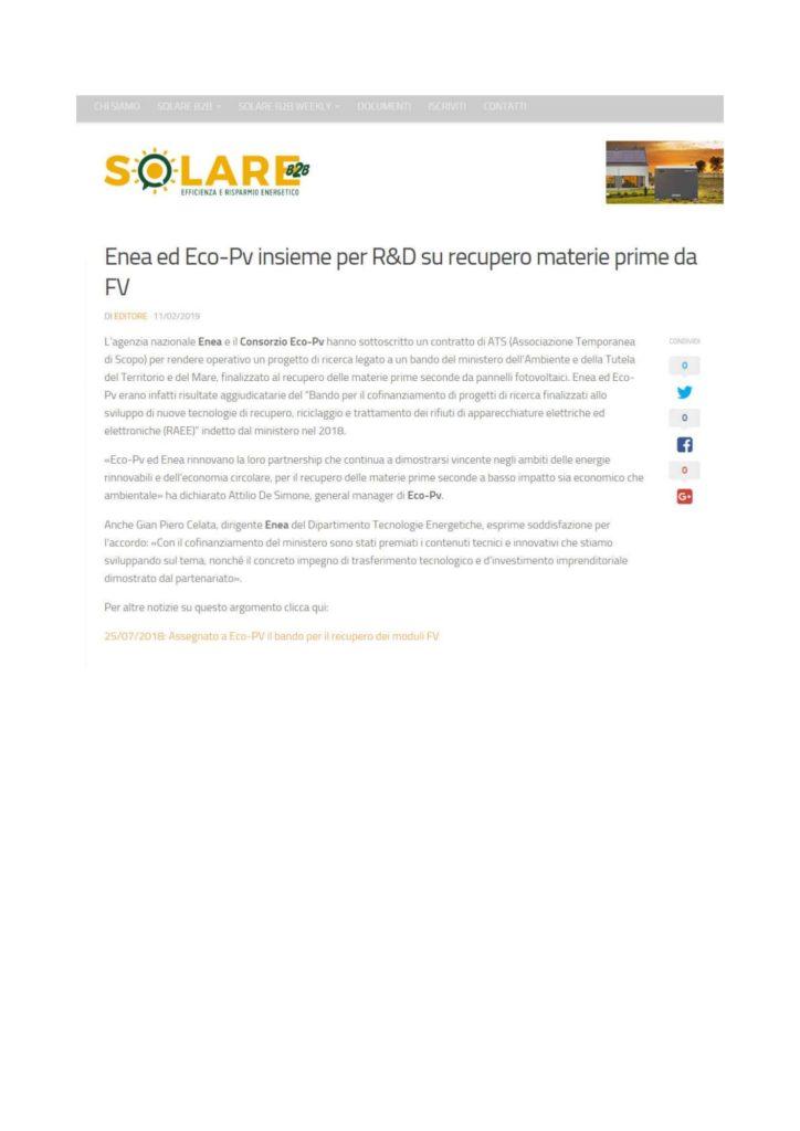 Enea ed Eco-Pv insieme per R&D su recupero materie prime da FV