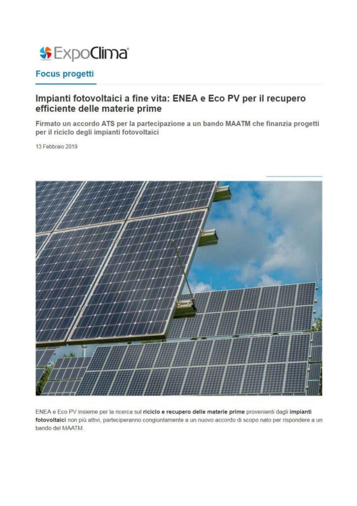 Impianti fotovoltaici a fine vita: ENEA e Eco PV per il recupero efficiente delle materie prime
