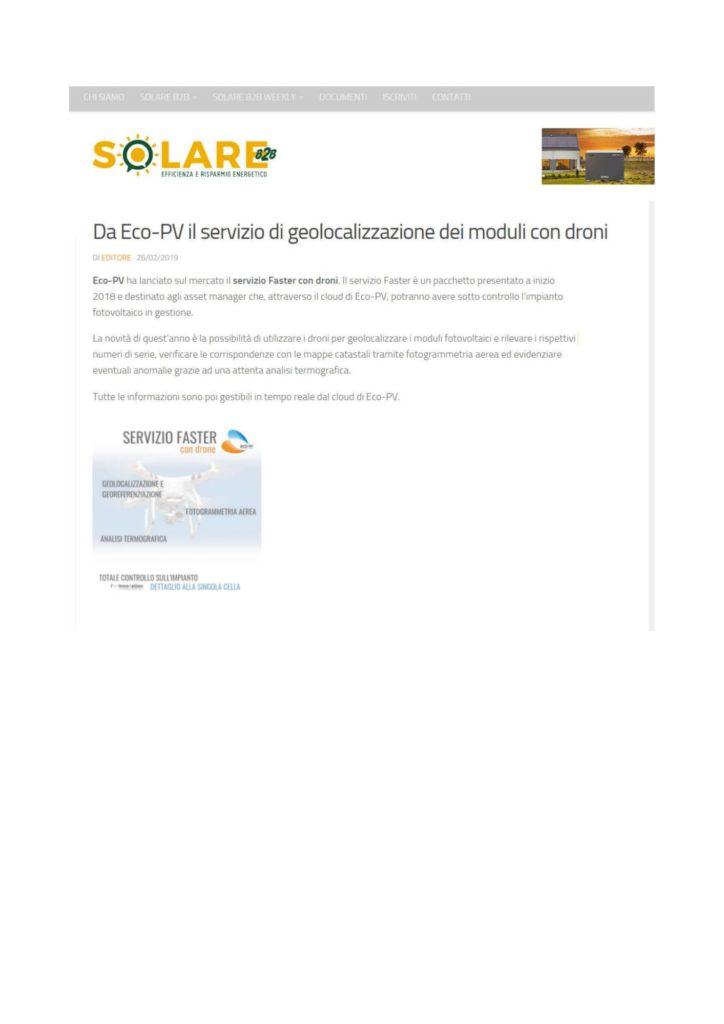 Da Eco-PV il servizio di geolocalizzazione dei moduli con droni