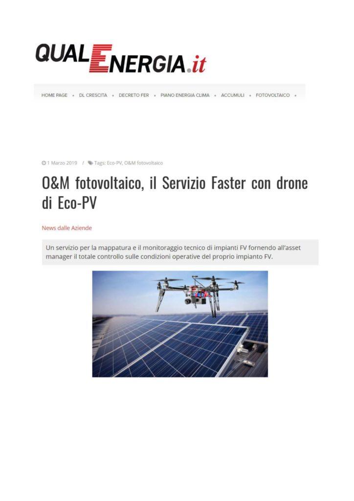 O&M fotovoltaico, il Servizio Faster con drone di Eco-PV