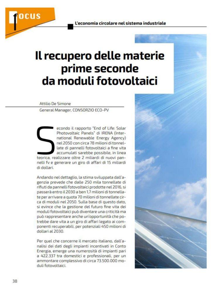 Il recupero delle materie prime seconde da moduli fotovoltaici