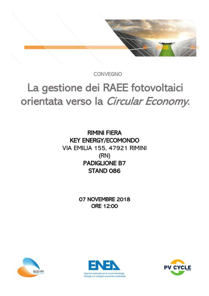 """Convegno """"LA GESTIONE DEI RAEE FOTOVOLTAICI ORIENTATA VERSO LA CIRCULAR ECONOMY"""" organizzato presso lo stand di ECO-PV alla Fiera di Rimini ECOMONDO / KEY ENERGY 2018"""
