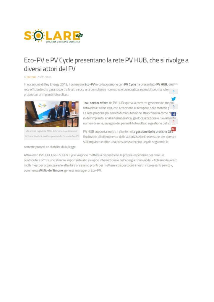 Eco-PV e PV Cycle presentano la rete PV HUB, che si rivolge a diversi attori del FV