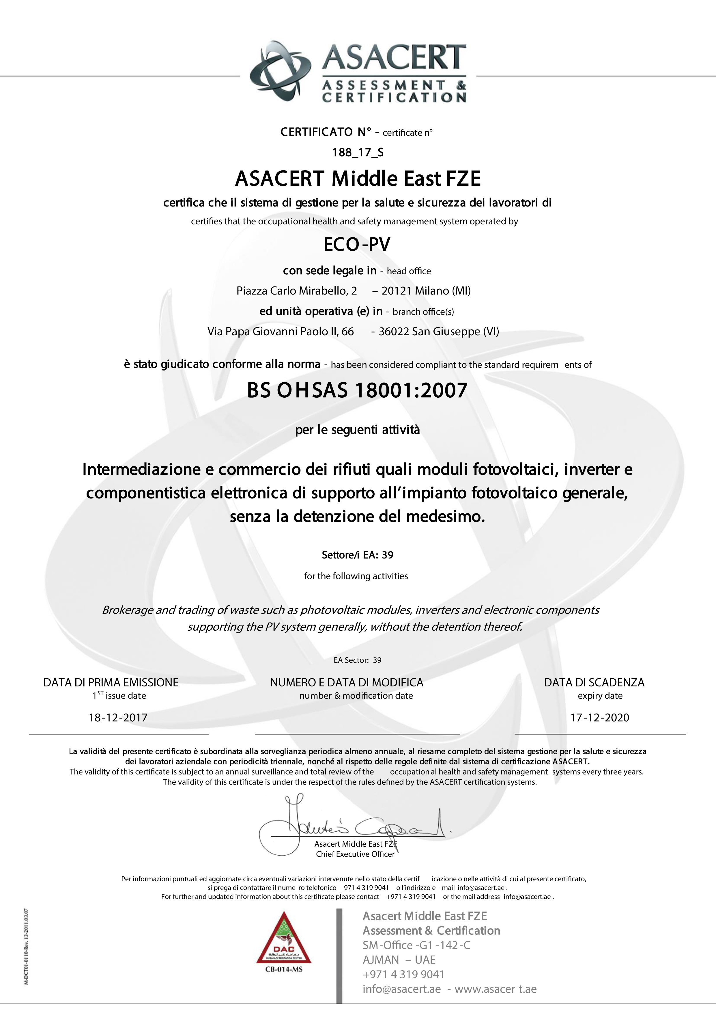 ECO_PV_Certificate_OHSAS_18001_2007_ASACERT_20171218