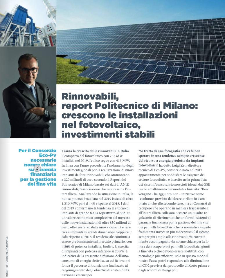 Rinnovabili, report politecnico di Milano - La nuova ecologia